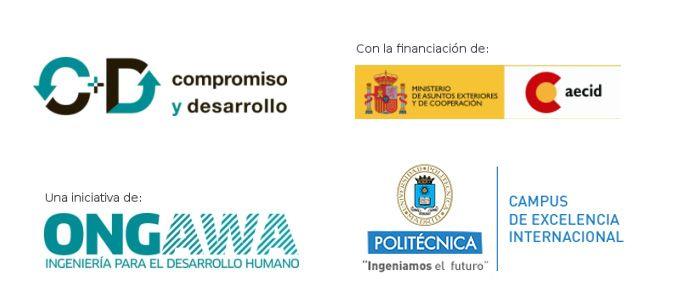 Logotipos ONGAWA, UPM, Compromiso y Desarrollo