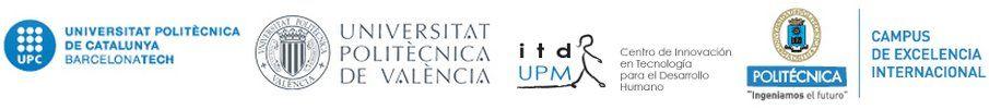 Logos de las universidades politécnica de Catalunya, politécnica de Valencia, itdUPM y UPM