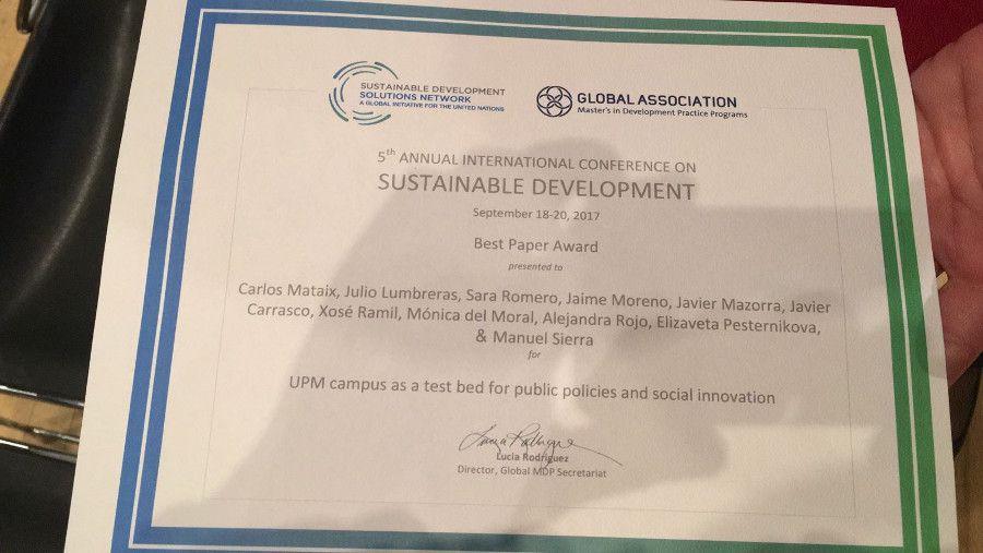 Diploma al mejor artículo académico en la #ICSD2017